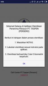 Halaman awal aplikasi Otentikasi Taspen