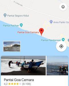 Lokasi Pantai Goa Cemara Bantul