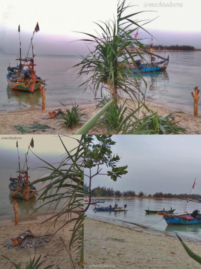 Perahu nelayan di pantai Sekuro Resort