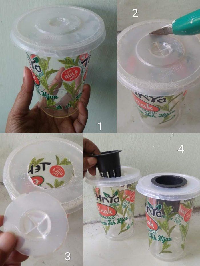 Pembuatan pot hidroponik dari gelas plastik