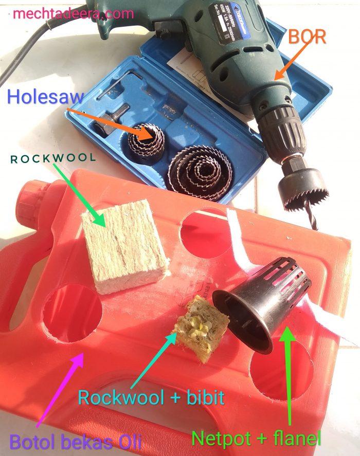 Alat & bahan pot hidroponik jeriken plastik