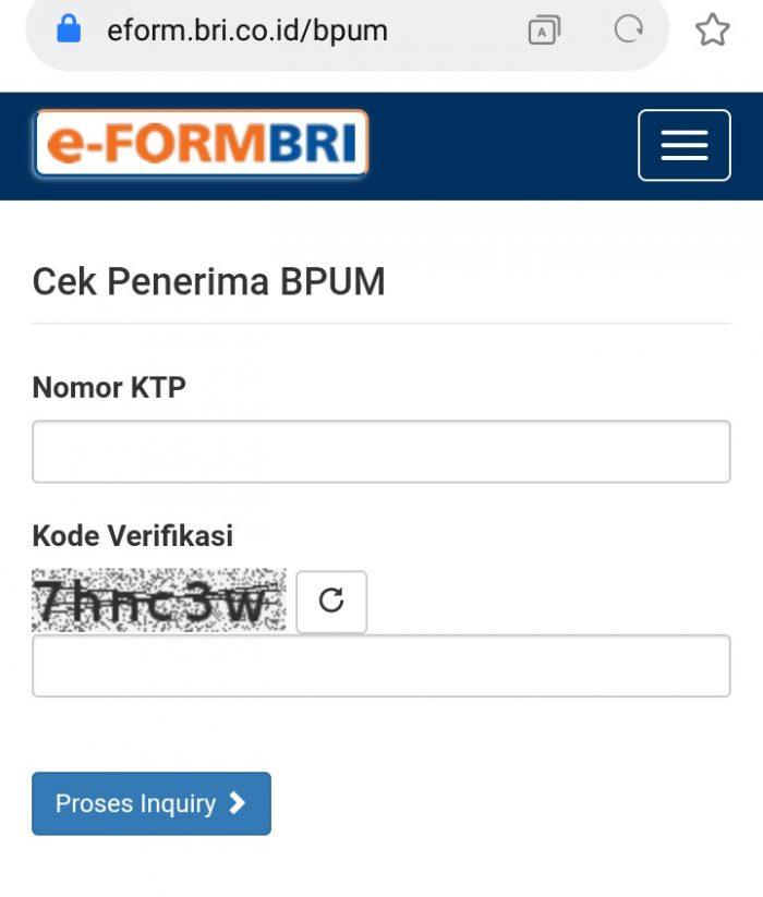 e-Form BRI untuk cek penerima BPUM