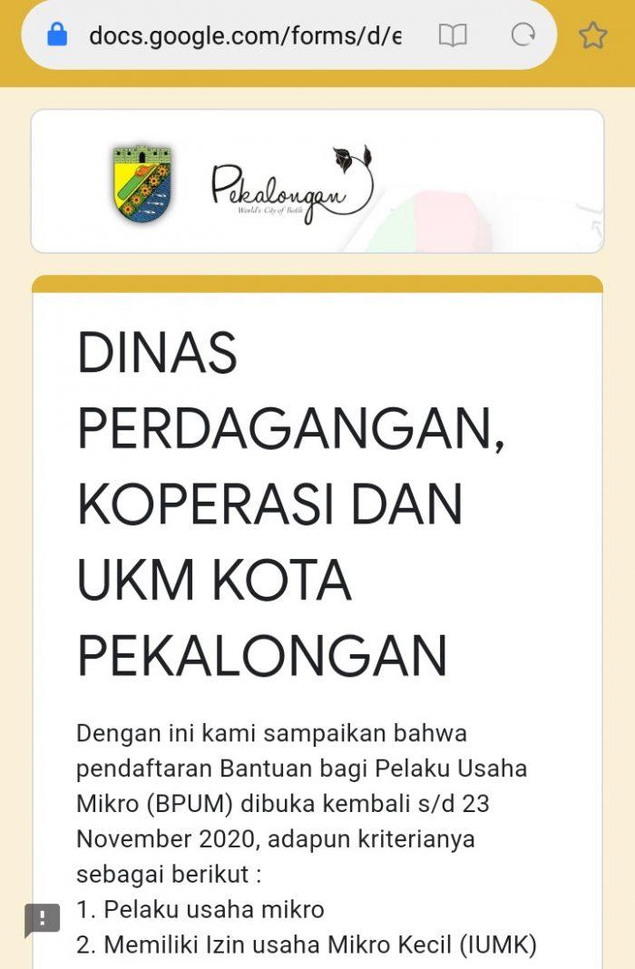 Form pendaftaran online BPUM Kota Pekalongan