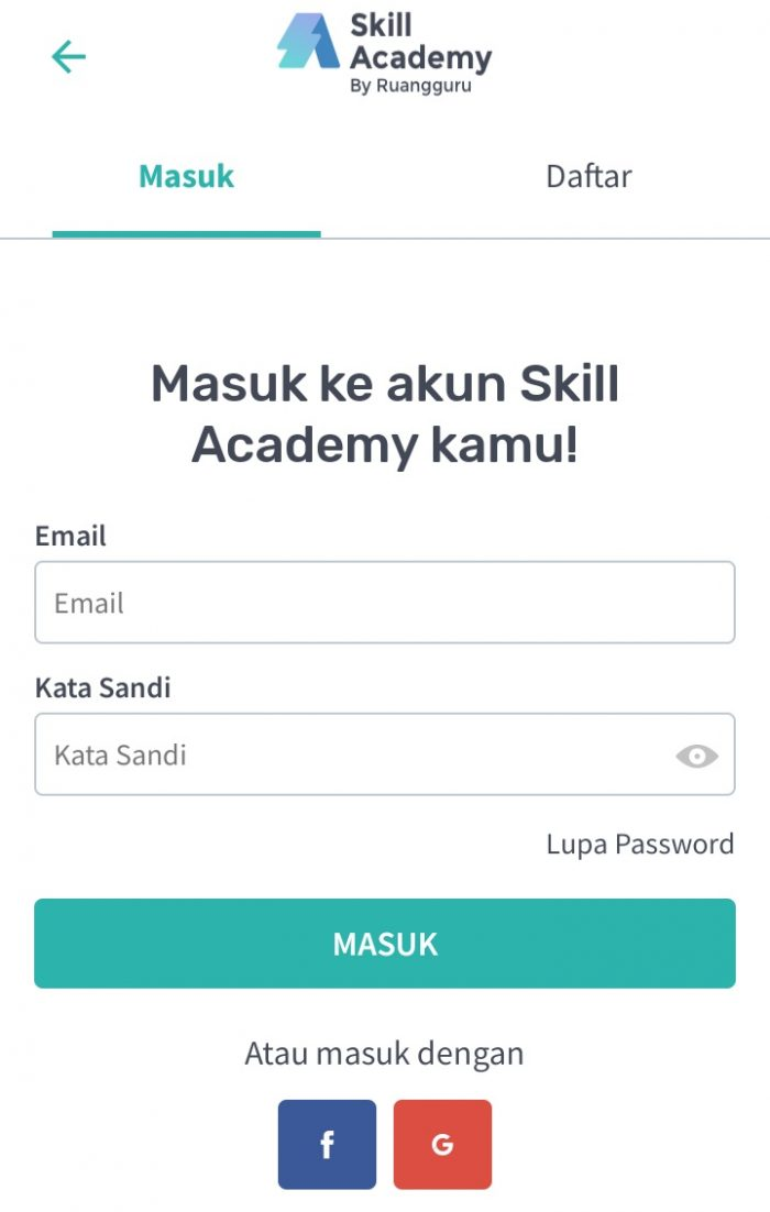 Akun di Skill Academy
